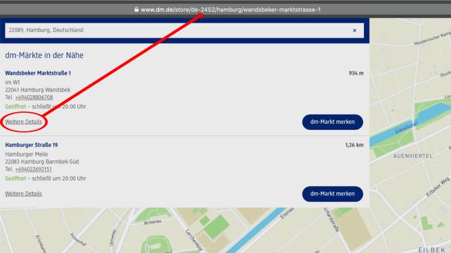 Klopapier-Widget einrichten: Store-ID in der URL©COMPUTER BILD