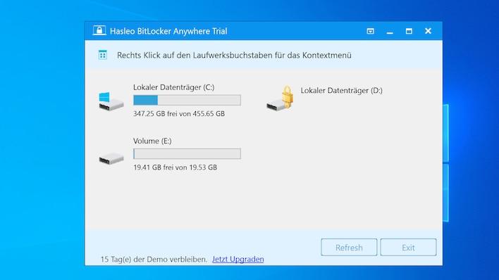 Windows 10: Bitlocker freischalten
