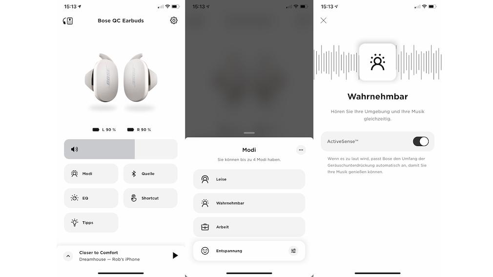 Bose Quietcomfort Earbuds im Test: Bose Music App