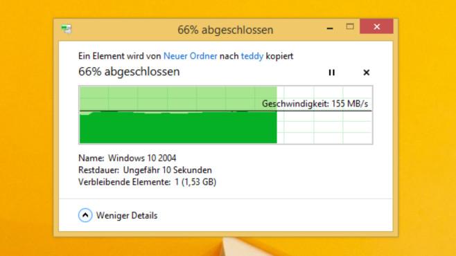 Dateien schneller kopieren: Mit Registry-Hack, MFT und dem Tool Teracopy Microsoft hat den Kopierdialog mit Windows 8 deutlich verbessert, der von Windows 10 ist so ansehnlich und informativ wie jener des Vorgänger-Betriebssystems.©COMPUTER BILD