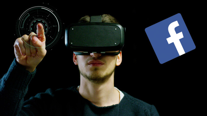 Mann mit Oculus-Rift-Brille, daneben Facebook-Logo©iStock.com/HQuality Video