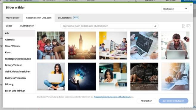 one.com: Der Website-Baukasten in der Praxis Den Vollzugriff auf dei zahlreichen lizenzfreien Bilder des Website-Baukastens von one.com gibt nur mit der Premium-Option.©Computer Bild