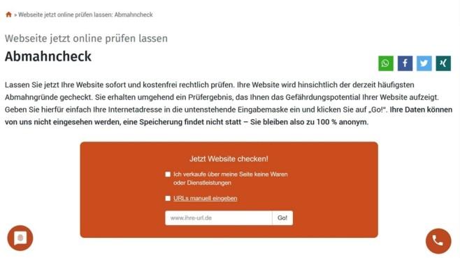 one.com: Der Website-Baukasten in der Praxis Der Abmahncheck prüft die mit dem Website-Baukasten von one.com erstellte Homepage auf die gängisten Abmahngründe.©Computer Bild