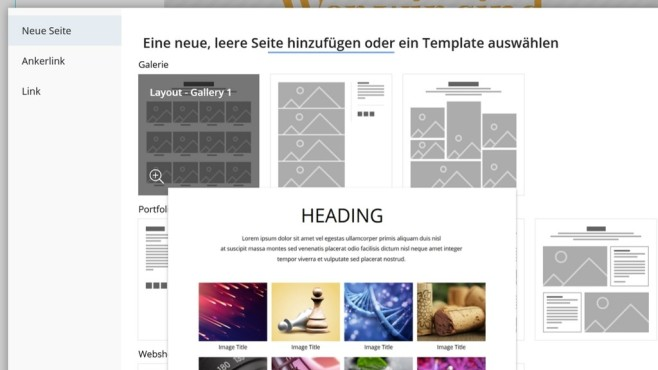 one.com: Der Website-Baukasten in der Praxis Für die Erstellung neuer Seiten stellt der Website-Baukasten von one.com verschiedenste Vorlagen zur Verfügung.©Computer Bild