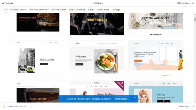 one.com: Der Website-Baukasten in der Praxis In der Gesamtübersicht lassen sich alle Templates des Website-Baukastens von one.com durchsehen.©Computer Bild