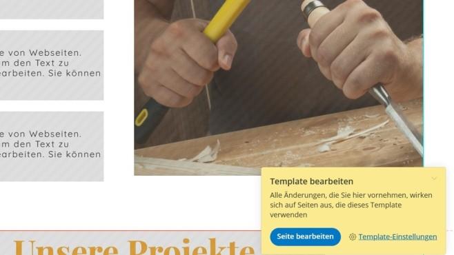one.com: Der Website-Baukasten in der Praxis Was im Website-Baukasten von one.com auf dem Template platziert oder geändert wird, ist auf allen Seiten zu sehen.©Computer Bild