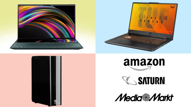 Amazon, Media Markt, Saturn: Top-Deals des Tages! © Amazon, Media Markt, Saturn, Western Digital, Asus