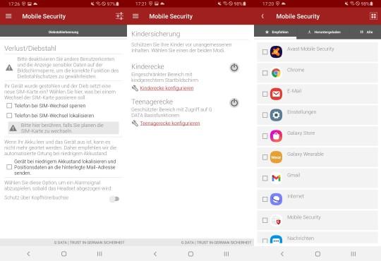G Data Mobiel Security Diebstahlschutz-Kindersicherung©G Data, Android/Samsung