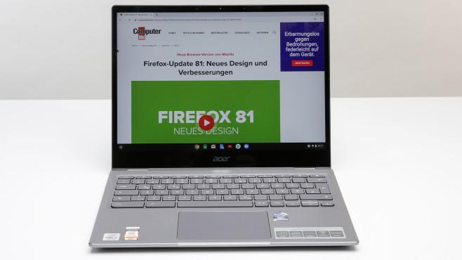 Das Acer Chromebook Spin 713 vor weißgrauem Hintergrund.©COMPUTER BILD