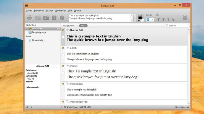 Windows 10 und XP: Verlangsamen viele Schriftarten das Booten? NexusFont ist ein Viewer für installierte Schriftarten. Unerwünschte entfernen Sie in einem Kontextmenü.©COMPUTER BILD