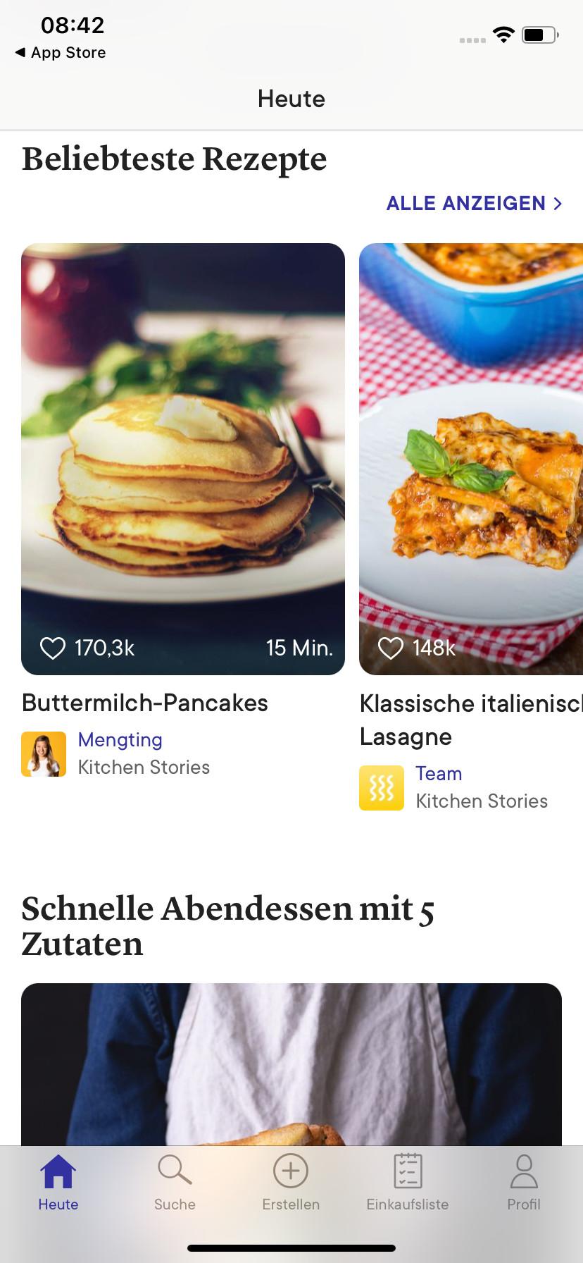 Screenshot 1 - Kitchen Stories Rezepte (App für iPhone & iPad)
