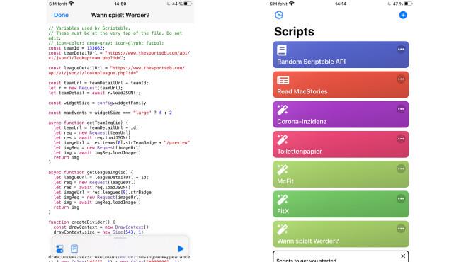 Screenshots aus der App Scriptable©COMPUTER BILD