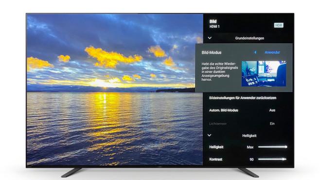 Sony Bravia A8: Der schönste Fernseher von Sony im Test Die bestmögliche Bildqualität zeigte der Sony A8 im Bildmodus Anwender.©Sony, COMPUTER BILD