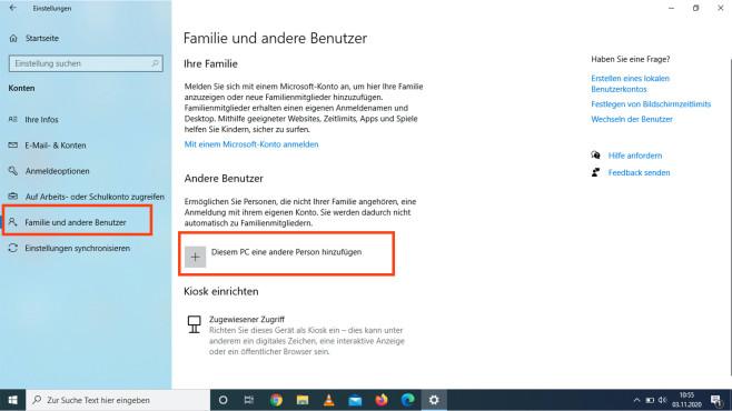 Windows 10: Neues Benutzerkonto©COMPUTER BILD
