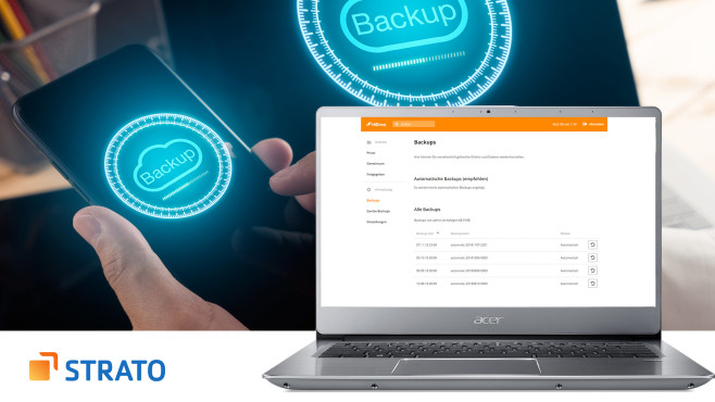 Strato Backup © Strato, iStock.com/5432action, Acer