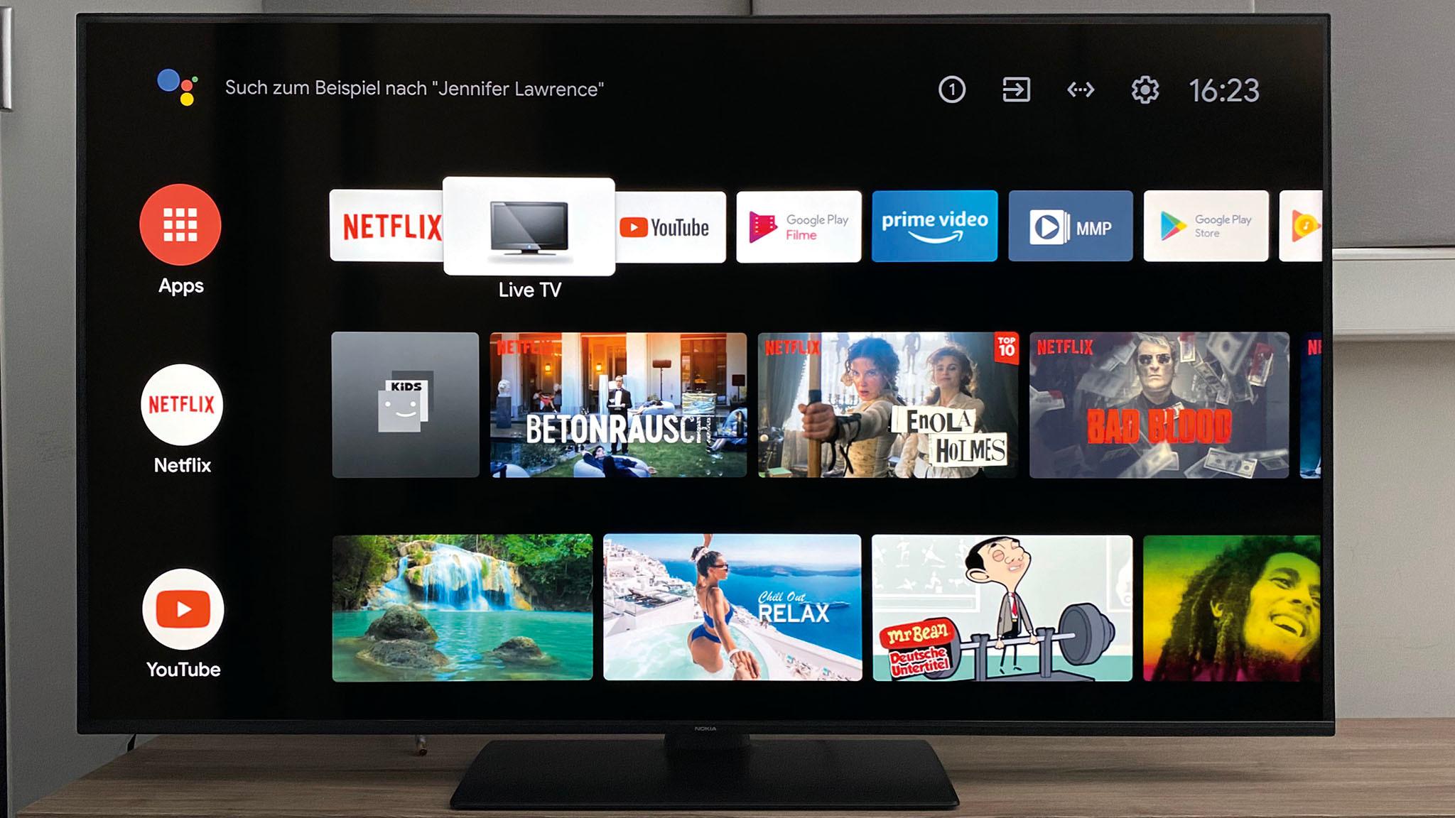 Nokia Smart TV 5500A im Test: Das Android TV Betriebssystem in der aktuellen Version 9 beschert ihm eine gute App-Auswahl.©COMPUTER BILD
