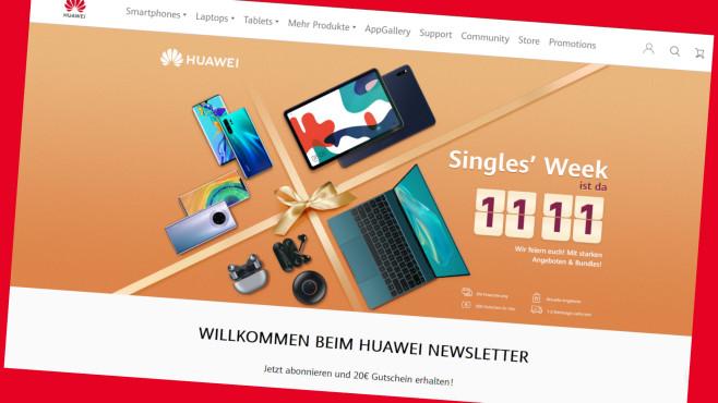 Huawei-Onlineshop: Knallerpreise zur Singles Week©Screenshot https://consumer.huawei.com