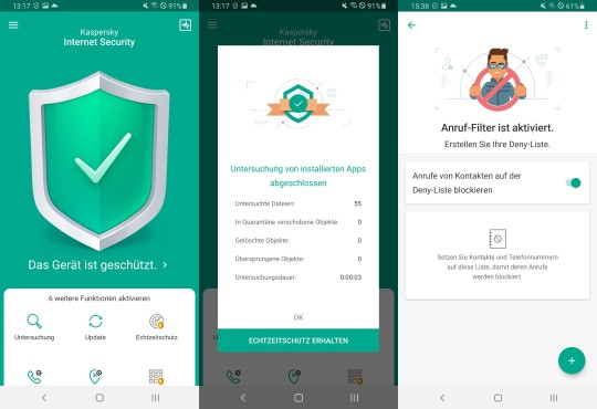 Kaspersky Internet Security: Features © Kaspersky, Android/Samsung