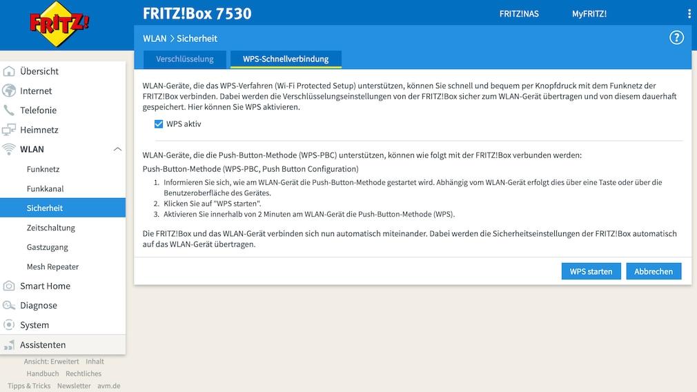 FritzBox; WPS