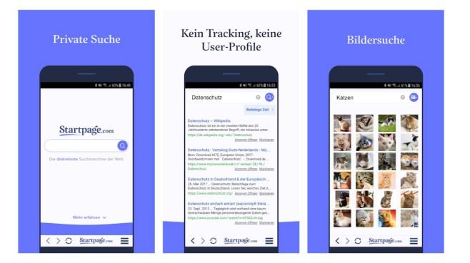 Apps Startpage Suchmaschinen 2020 Test©Startpage