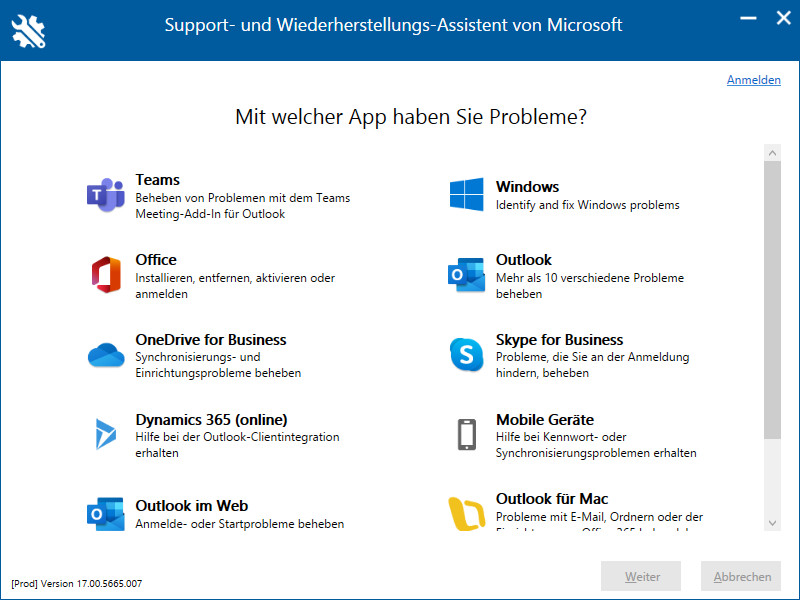 Screenshot 1 - Microsoft Support and Recovery Assistant