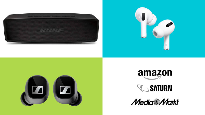Amazon, Media Markt, Saturn: Top-Deals des Tages! © Saturn, Media Markt, Amazon, Bose, Sennheiser, Apple