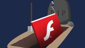Grafik: Adobe-Flash-Logo in einem Sarg©Adobe, iStock.com / undefined undefined