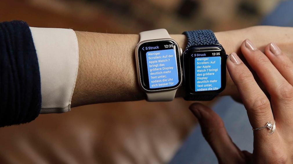 Apple Watch 7 vs. 6 Textgröße
