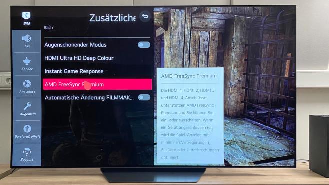 Die beste Einstellung des LG OLED BX etwa für die XBox Series X: Mit Freesync Premium akzeptiert der Fernseher auch eine schwankende Bildwiederholfrequenz der Konsole (VRR).©COMPUTER BILD