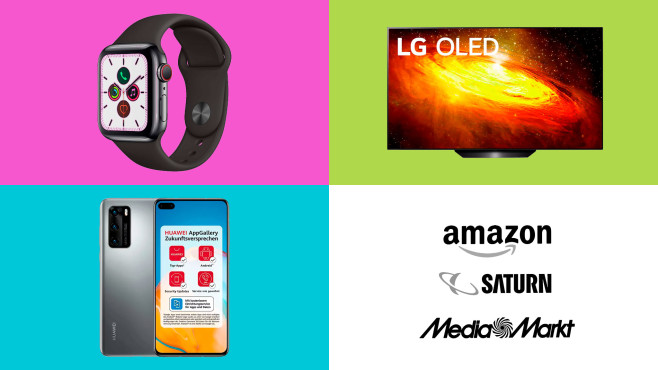 Amazon, Media Markt, Saturn: Top-Deals des Tages! © Saturn, Media Markt, Amazon, Apple, LG, Huawei