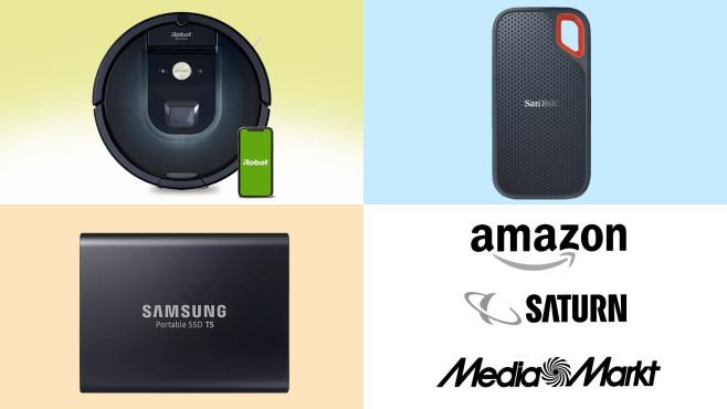 Amazon, Media Markt, Saturn: Top-Deals des Tages!©Amazon, Media Markt, Saturn, Samsung, SanDisk, iRobot