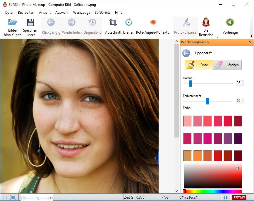 Screenshot 1 - SoftSkin Photo Makeup – Kostenlose Vollversion