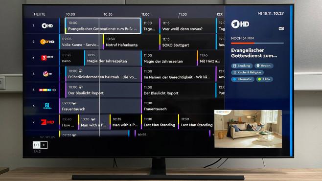 Beim Samsung Q70T erlaubt die HD+ App den Empfang der privaten HD-Programme per Satellit mit Bordmitteln.©COMPUTER BILD