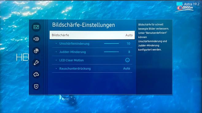 In den Experteneinstellungen fasst Samsung Rauschfilter und Bewegungsglättung zusammen.©COMPUTER BLD