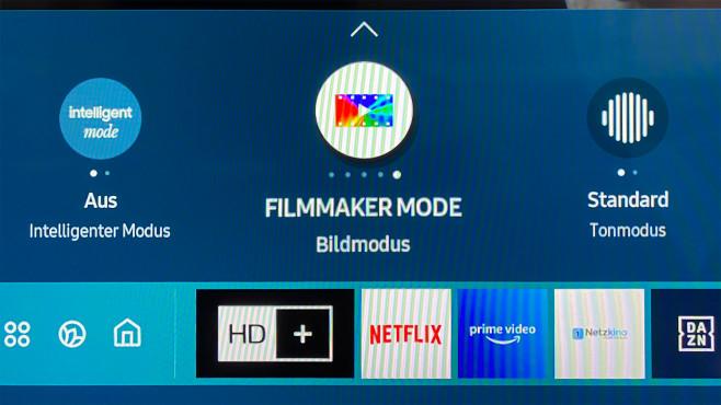 Mit einem Druck auf die Home-Taste lassen sich auch die Bildeinstellungen in der Smart-Hub-Menüleiste schnell ändern.©COMPUTER BILD
