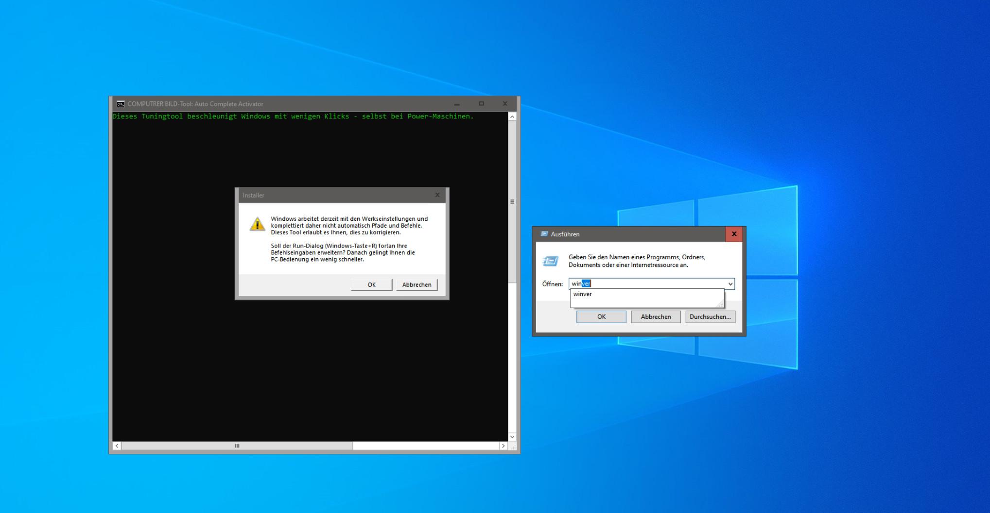 Screenshot 1 - Windows-Autovervollständigung einschalten