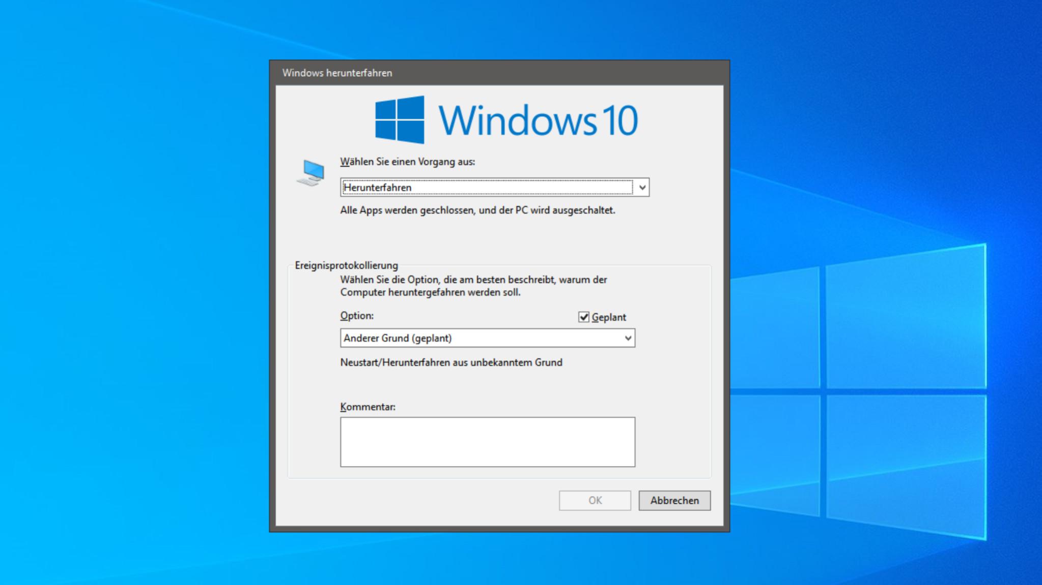 Screenshot 1 - Herunterfahren von Windows sperren