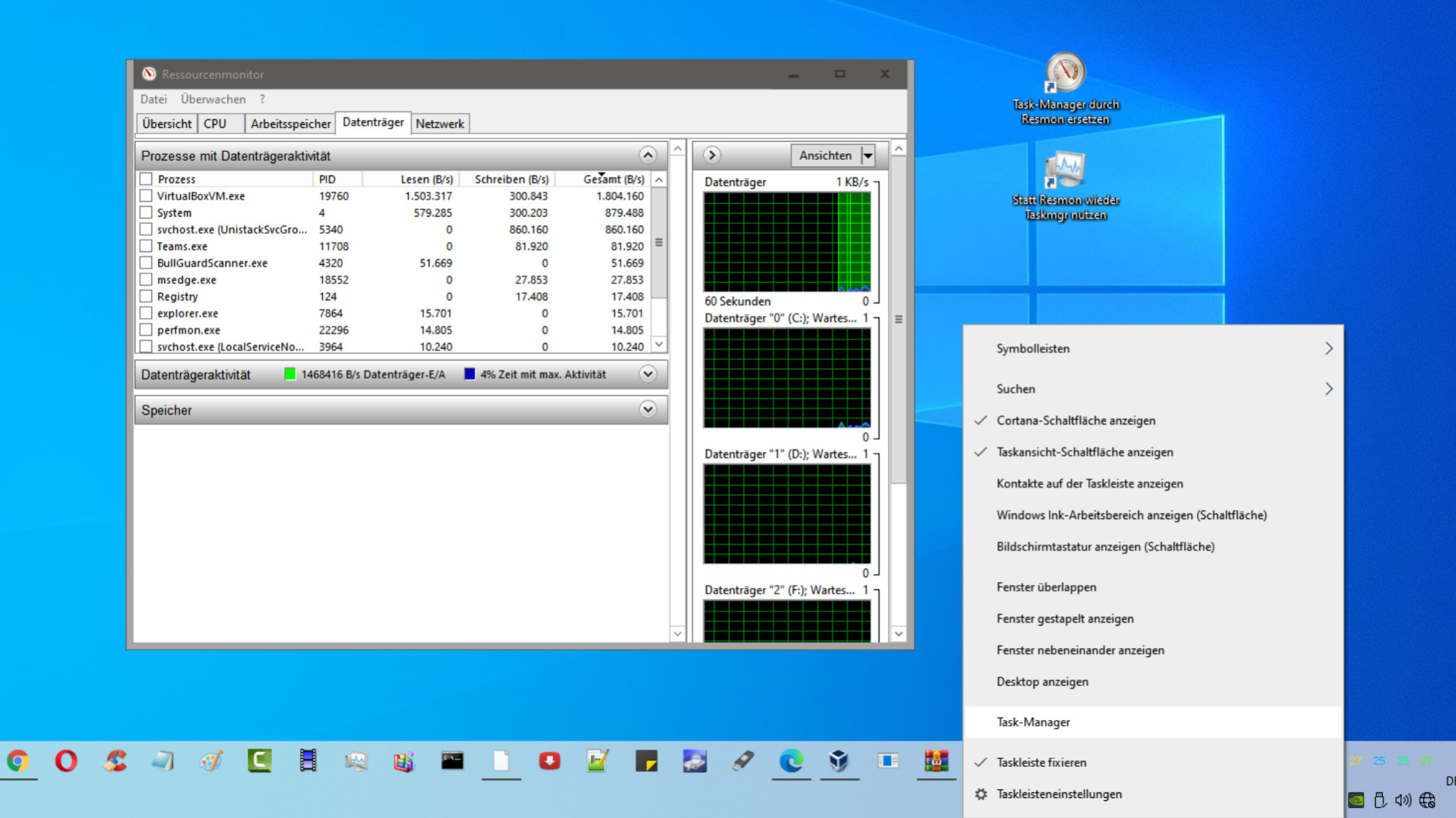 Screenshot 1 - Task-Manager durch Ressourcenmonitor ersetzen