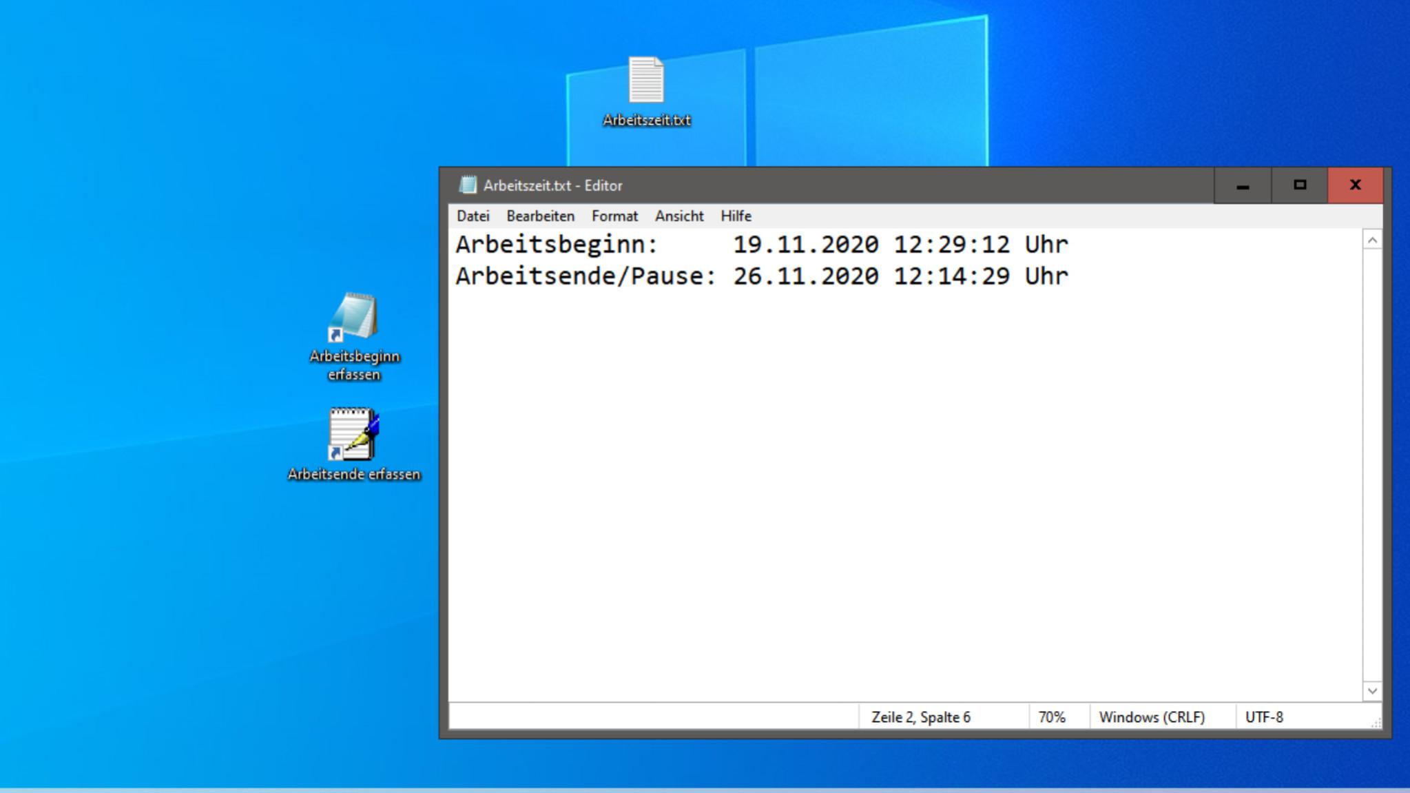 Screenshot 1 - Arbeitszeit-Erfassung