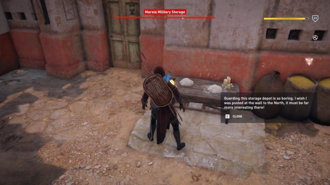 """Easter Eggs in Spielen: Die besten versteckten Gags Da hat wohl einer der Wachen aus """"Assassin's Creed – Origins"""" keine Lust mehr auf seinen Job©Ubisoft"""