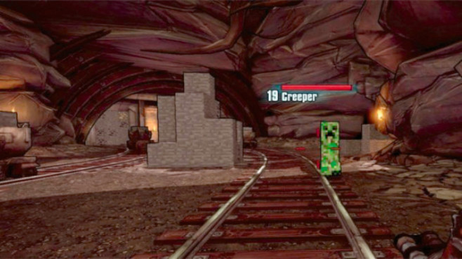 """Easter Eggs in Spielen: Die besten versteckten Gags In dieser Höhle in """"Borderlands 2"""" treffen Sie auf die berühmten Creeper aus """"Minecraft"""".©2K Games"""