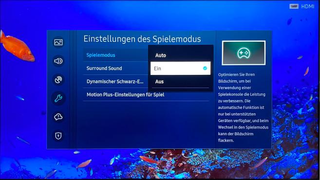 Den Spielemodus versteckt Samsung im Menü, er bietet aber hilfreiche Einstellmöglichkeiten.©COMPUTER BILD