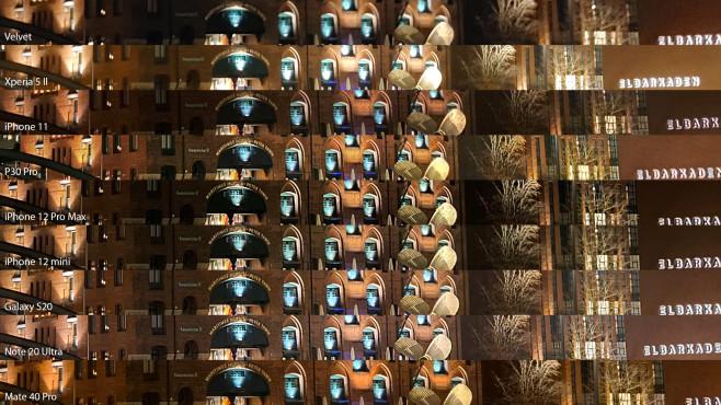 """Test 2020: Die besten Handys für die Nacht Detailvergleich mit Bildausschnitten von allen Handys. Hier kann man gut erkennen, wie gut Details zu erkennen sind, etwa wie gut sich """"MARITIMES MUSEUM PETER TAMM"""" über dem Eingang oder sogar """"Kaispeicher B"""" links daneben lesen lässt.©COMPUTER BILD / Michael Huch"""