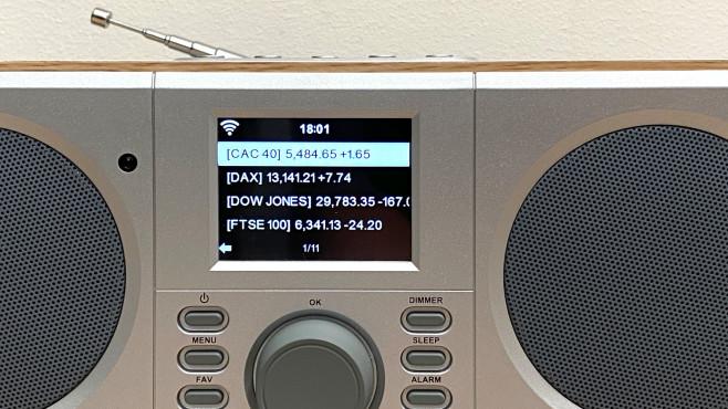 Das WLAN Internetradio von Tchibo holt auch Infos etwa zum Wetter oder Börsenkurse aufs Display.©COMPUTER BILD