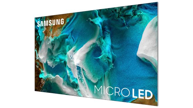 Die Samsung Micro-LED-TVs kommen mit einem extrem schmalen Rahmen aus, rundum verbergen sich dahinter kleine Lautsprecher.©Samsung