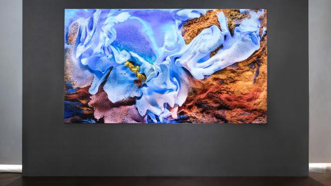 Micro-LED-TV: Samsung bringt Fernseher mit 110 Zoll und neuer Bildschirmtechnik Der 110 Zoll große Micro-LED-Fernseher von Samsung kommt praktisch ohne sichtbaren Rahmen aus, das Verhältnis aus Bild und Rahmen beträgt laut Hersteller 99,99 Prozent.©Samsung