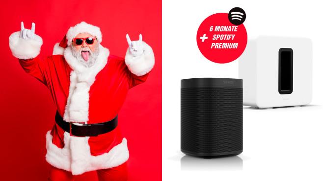ein One SL Stereo-Set + Sub von Sonos + 6 Monate Spotify Premium©istock/Deagreez, Sonos