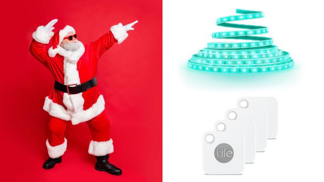 ein Innr Smart Flex LED-Lightstrip und ein Tile Mate 4er-Set©istock/Deagreez, Innr, Tile