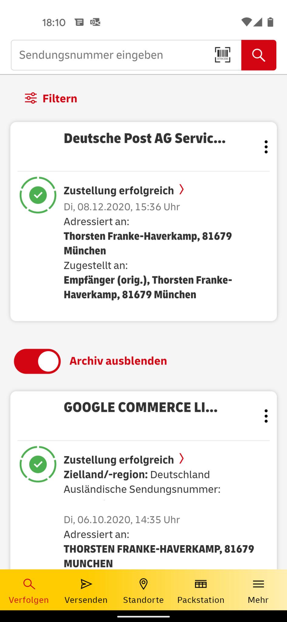 Screenshot 1 - Post & DHL (Android-App)