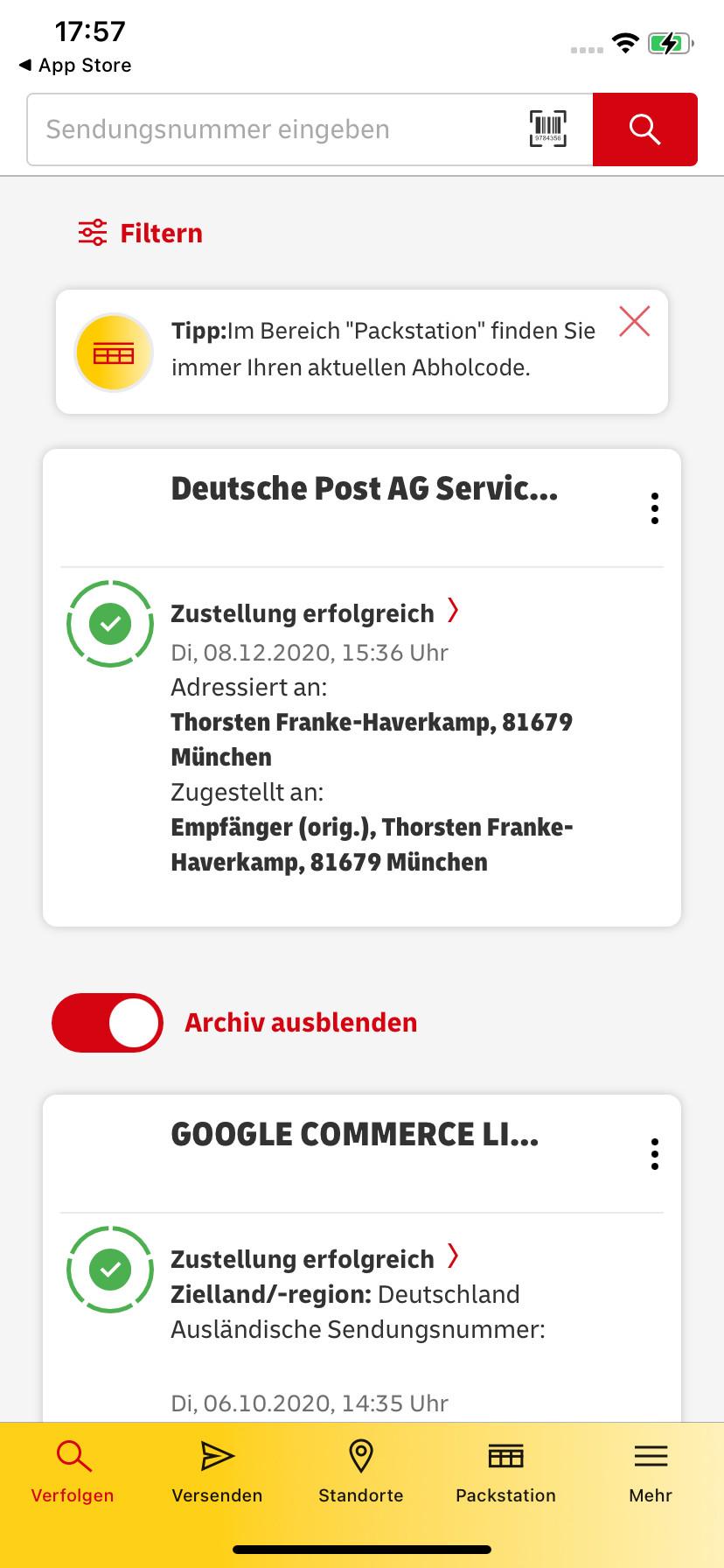 Screenshot 1 - Post & DHL (App für iPhone & iPad)